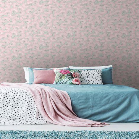 Sublime Pink Gingko Japanese Leaf Floral Wallpaper