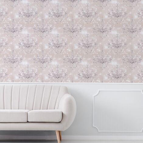 Sublime Silver Chandelier Beige Wallpaper