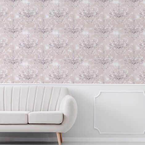 Sublime Silver Chandelier Beige Wallpaper (Was £13)