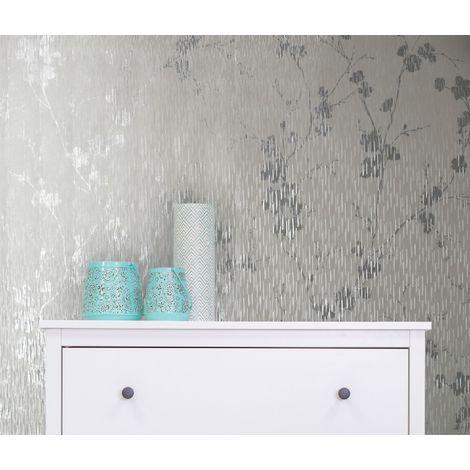 Sublime Silver Theia Metallic Floral Wallpaper