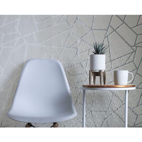 Sublime Silver Theia Metallic Geometric Wallpaper