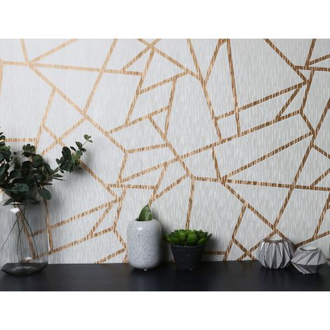 Sublime White/Gold Theia Metallic Geometric Wallpaper