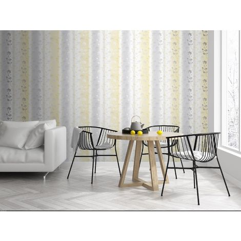 Sublime Yellow/Grey Summertime Floral Wallpaper