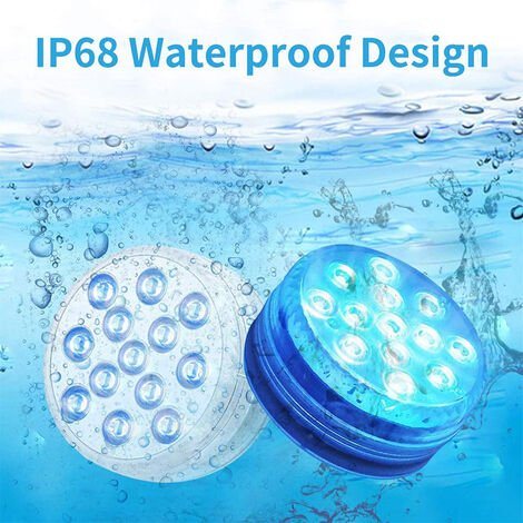 "main image of ""Submersible LED lights, multi-color remote control underwater lighting, waterproof bathtub lights, suitable for aquarium bathtub swimming pool garden aquatic environment"""