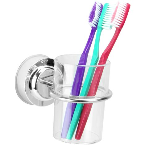 """main image of """"Suction Cup Toothbrush Tumbler Holder   M&W - Silver"""""""