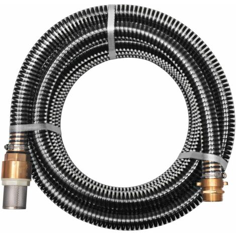 Suction Hose with Brass Connectors 4 m 25 mm Black