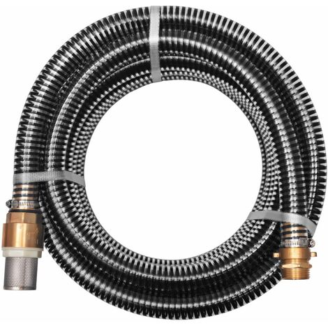 Suction Hose with Brass Connectors 7 m 25 mm Black