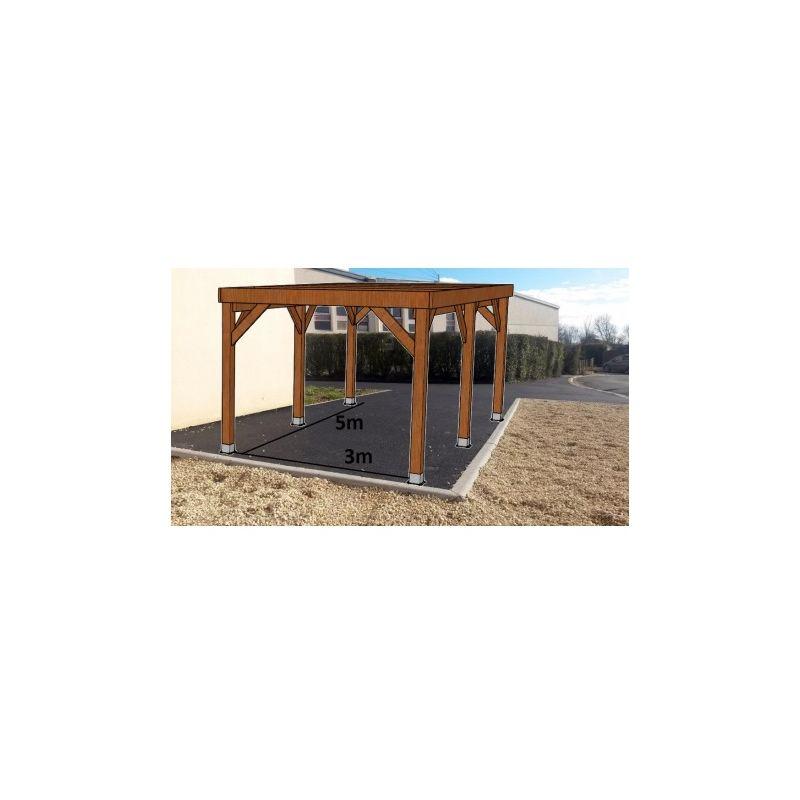 KIT Carport Bois Douglas Traité Autoclave Marron Solide et Durable sans couverture. Dim. 3.20 m x 5.10 m. Livraison Gratuite FR