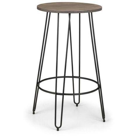 Sue Black Steel Bar Table Solid Elm Top Hair Pin Legs