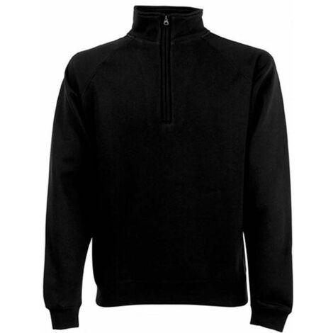 Suéter de cuello con cremallera, negro, talla XXL