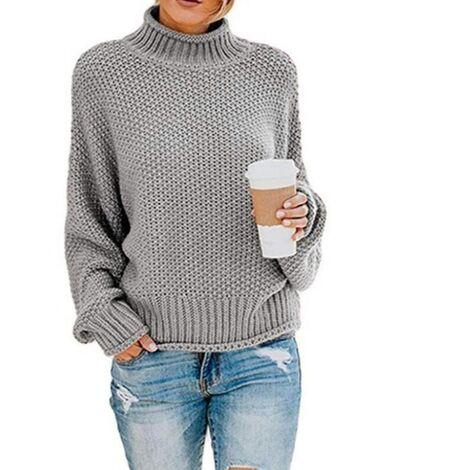 Suéter LITZEE para mujer, elegante, de invierno, cuello alto, suéter de punto, suéter grueso, suéter de punto, suéter informal de manga larga suelta-S gris