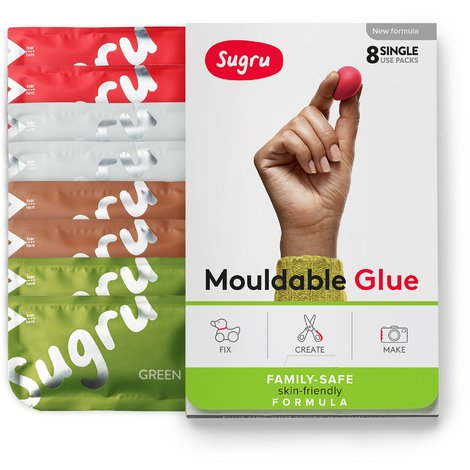 Sugru Mouldable Glue - Family-Safe | Skin-Friendly Formula - Earth Colours (8-pack)