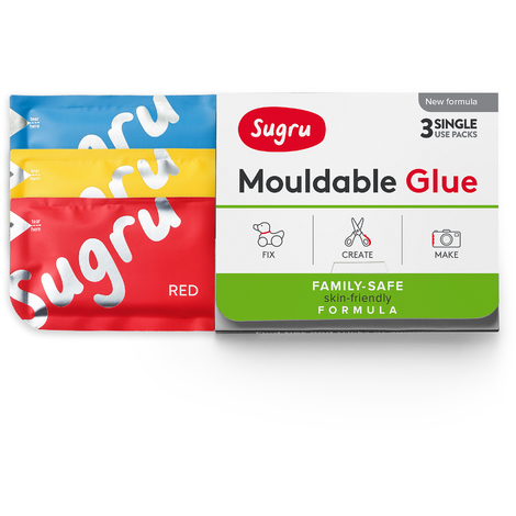 Sugru Mouldable Glue - Family-Safe | Skin-Friendly Formula - Red, Yellow & Blue (3-pack)