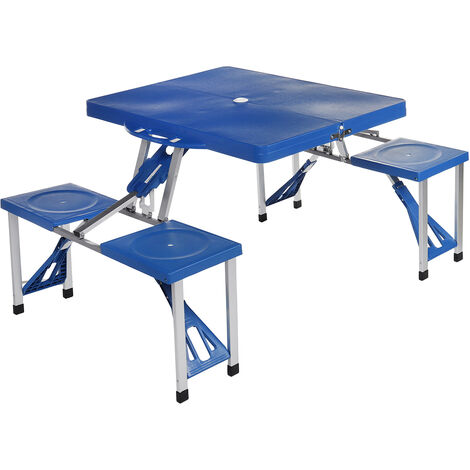 Suitcase Table Blue with 4 Seats Aluminum Portable Folding Outdoor Camp Picnic