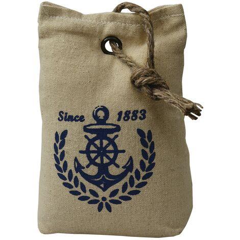 Sujetapuertas Decorativo Beige Textil 1,3 kg. Marinero Since 1883. Forma de Saco con Sisal Natural para Puertas 17x7x12 cm