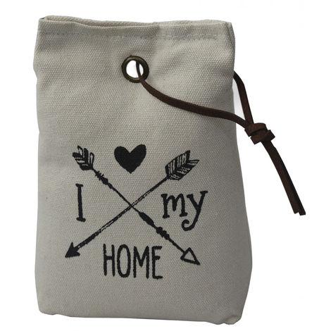 Sujetapuertas Decorativo Blanco Roto Textil, Frase Motivadora 1,3 kg. Forma de Saco con Cuerda de Cuero para Puertas 17x7x12 cm