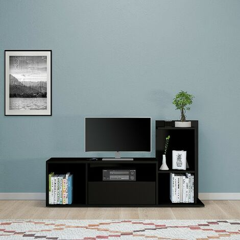 Sumatra TV Stand - with Shelves - for Living Room - Black made of Wood, 120 x 30 x 65 cm