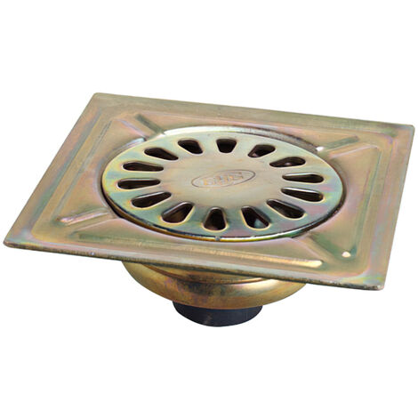 Sumidero acero bicromatado 200x200 mm. toma de 40 mm.