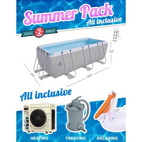 Summer Pack Piscine Passaat Gris 400x207x122cm + Pompe à chaleur + Filtre à sable + Bouée