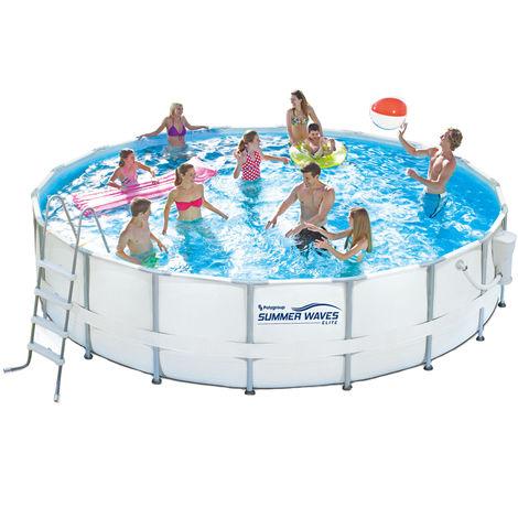 Summer Waves Rundpool Elite Aufstellpool Swimmingpool Weiß Ø550x132 cm