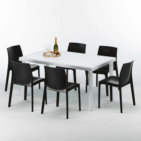 SUMMERLIFE Set Made of a 150x90cm White Rectangular Table and 6 Colourful ROME Chairs