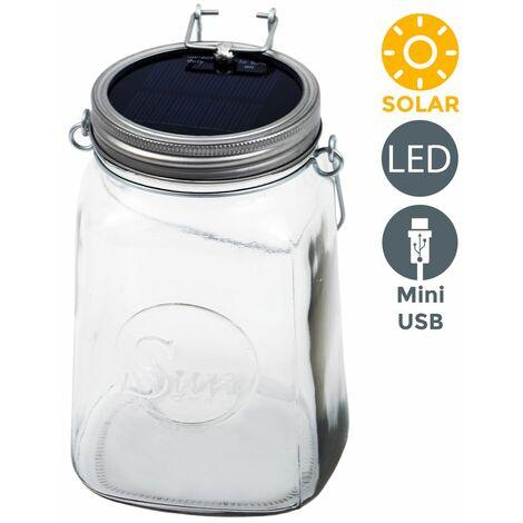 Sun jar, Lámpara LED solar de cristal, interior y exterior, Luz solar decoracion, Micro USB, Jardín Farol colgar, Vidrio y acero inoxidable