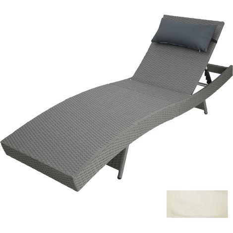 Sun lounger Anschelika rattan - reclining sun lounger, garden lounge chair, sun chair