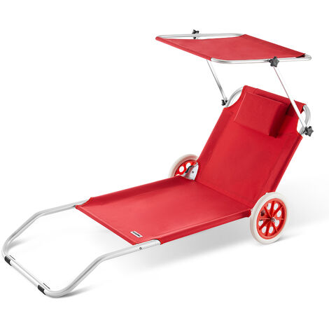 Sun Lounger Beach Aluminium Camping Recliner Patio Balcony Deck Chair Sun Shade