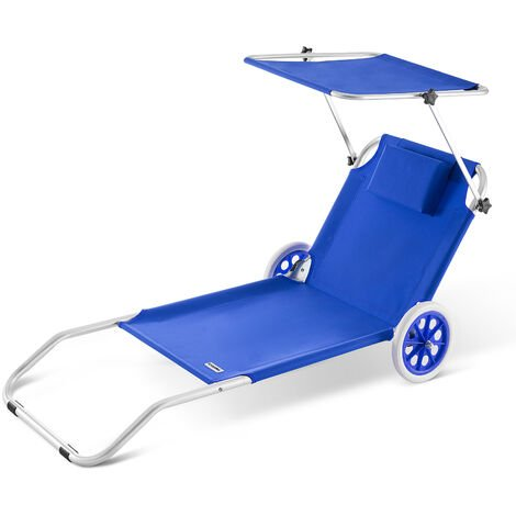 Sun Lounger Beach Aluminium Camping Recliner Patio Balcony Deck Chair Sun Shade
