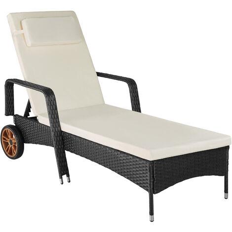 Sun lounger Biarritz rattan aluminium - reclining sun lounger, garden lounge chair, sun chair