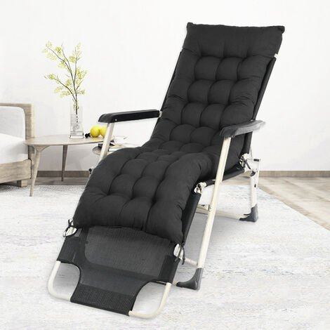 Sun Lounger Cushion Pad Garden In/Outdoor Recliner Chair Seat Pads,Black
