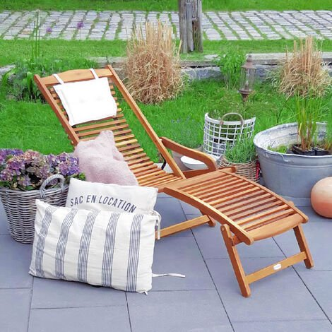 Sun Lounger Deck Chair Garden Patio Terrance Wooden Adirondack