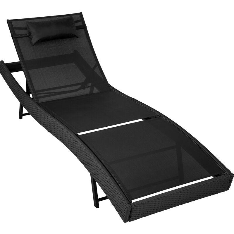 88e77eff9238 Sun lounger Delphine rattan - reclining sun lounger, garden lounge chair, sun  chair - black - 402057