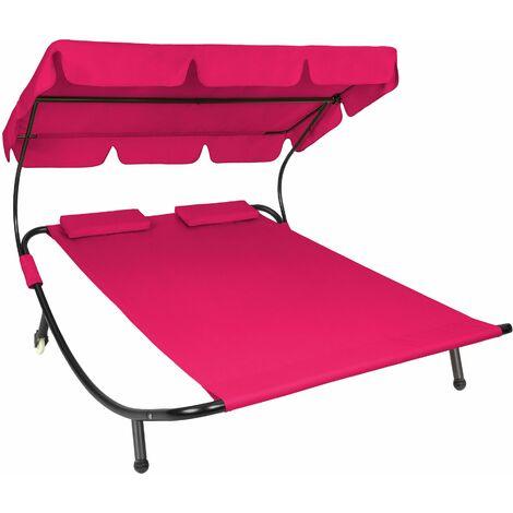 Sun lounger double - double sun lounger, garden sunbed, sun lounge bed - magenta