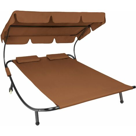 Sun lounger double - double sun lounger, garden sunbed, sun lounge bed - brown - brown