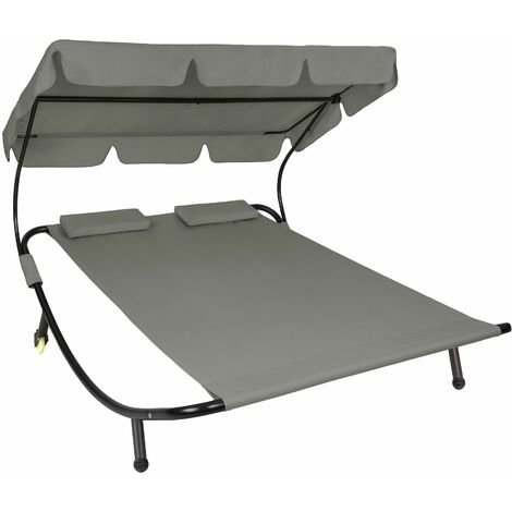 Sun lounger double - double sun lounger, garden sunbed, sun lounge bed - grey