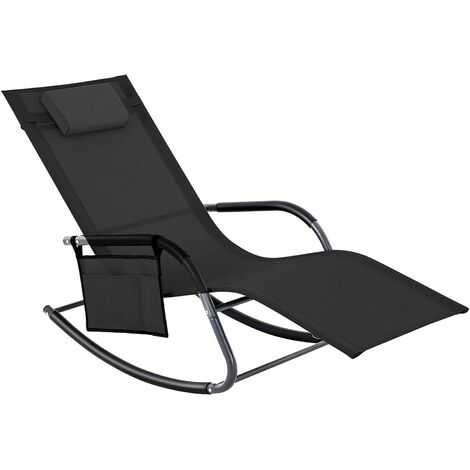 Sun Lounger, Garden Chair, Rocking Chair with Headrest and Side Pocket, Iron Structure, Breathable Synthetic, Comfortable, Max. Load Capacity 150 kg, Grey/Brown/Black