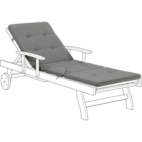 Sun Lounger Pad Cushion Grey TOSCANA/JAVA