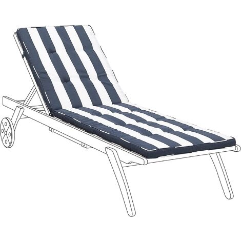 Sun Lounger Pad Cushion Navy Blue and White CESANA