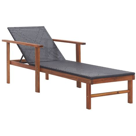 Sun Lounger Poly Rattan and Solid Acacia Wood Black - Black