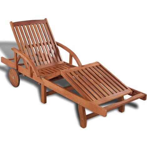 Sun Lounger Solid Acacia Wood
