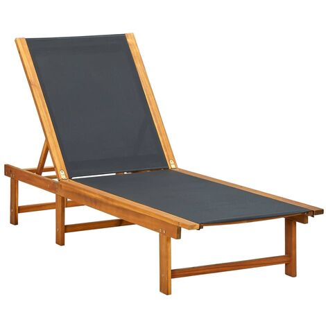 Sun Lounger Solid Acacia Wood and Textilene - Brown
