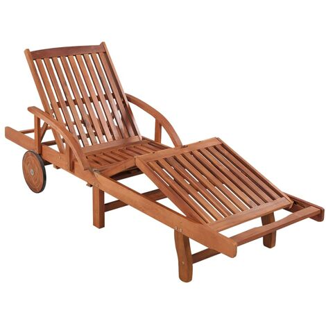 Sun Lounger Solid Acacia Wood - Brown