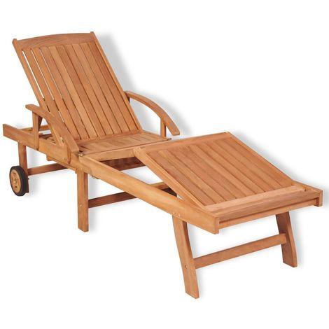 Sun Lounger Solid Teak Wood