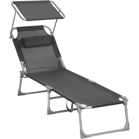 Sun Lounger, Sunbed, Reclining Sun Chair with Sunshade, Adjustable Backrest, Foldable, Lightweight, 55 x 193 x 31 cm, Load Capacity 150 kg, for Garden, Patio, Black GCB019B01 - Black