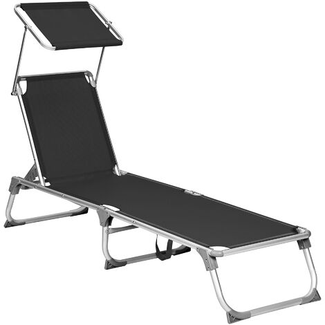 Sun Lounger, Sunbed, Reclining Sun Chair with Sunshade, Adjustable Backrest, Foldable, Lightweight, 55 x 193 x 31 cm, Load Capacity 150 kg, for Garden, Patio, Black GCB019B01 - Black