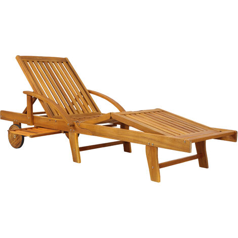Wooden Sun Lounger Tami Sun Foldable Deck Chair Day Bed Outdoor Patio Solid Hardwood 200 x 60 cm
