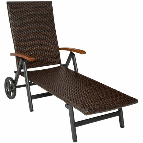 Sun lounger with armrests Auckland - reclining sun lounger, garden lounge chair, sun chair
