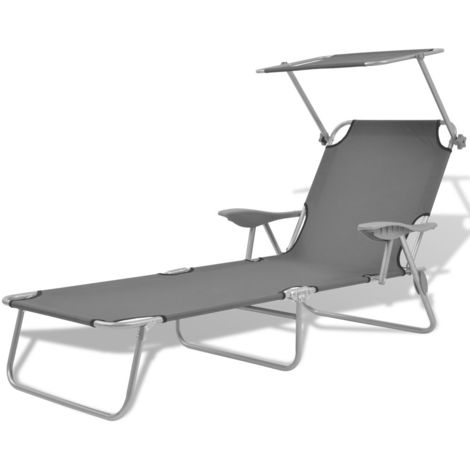 """main image of """"Sun Lounger with Canopy Steel Grey"""""""