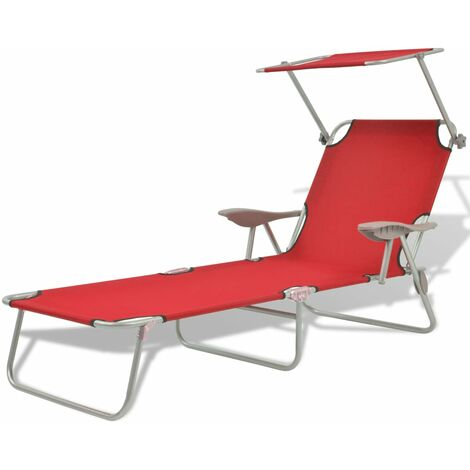 Sun Lounger with Canopy Steel Red